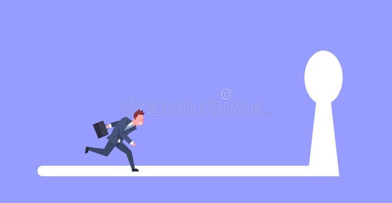 Bedrijfsmens die in Zeer belangrijk Gatenlicht aan Toekomstig Kansconcept lopen stock illustratie