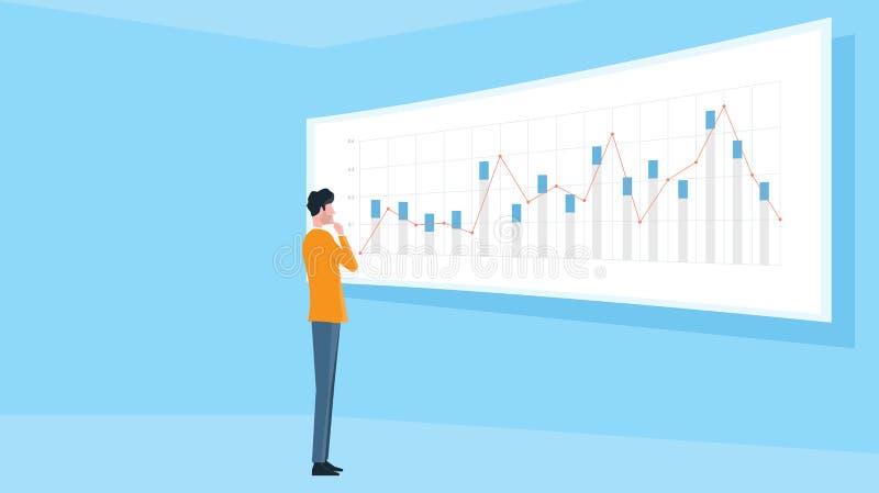 Bedrijfsmens die zich op de financiële monitor van het grafiekrapport bevinden royalty-vrije illustratie