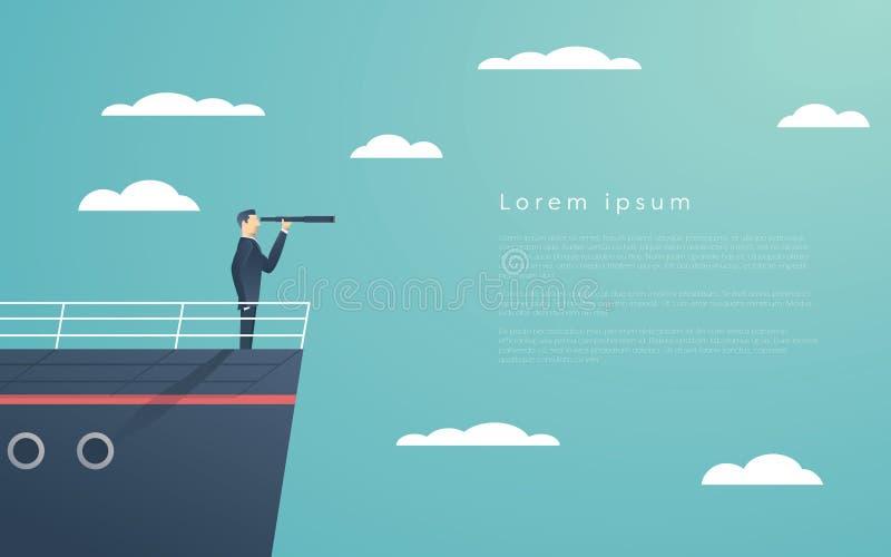 Bedrijfsmens die zich op een schip als symbool van leiding, professionalisme en sterke, krachtige manager bevinden vector illustratie