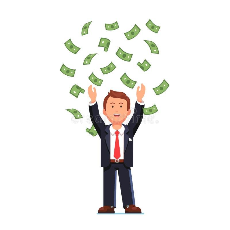 Bedrijfsmens die zijn geld omhoog in de lucht werpen stock illustratie