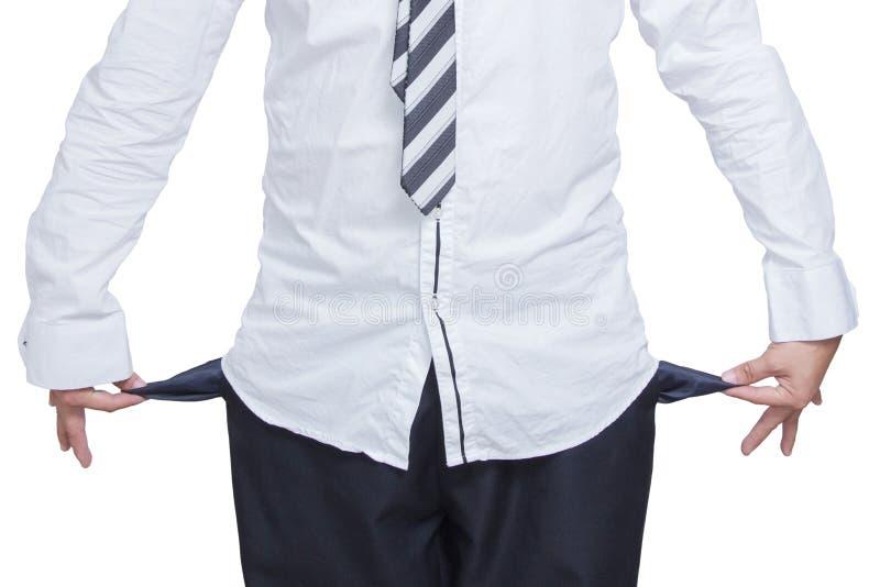 Bedrijfsmens die zijn lege zakken op wit tonen stock fotografie
