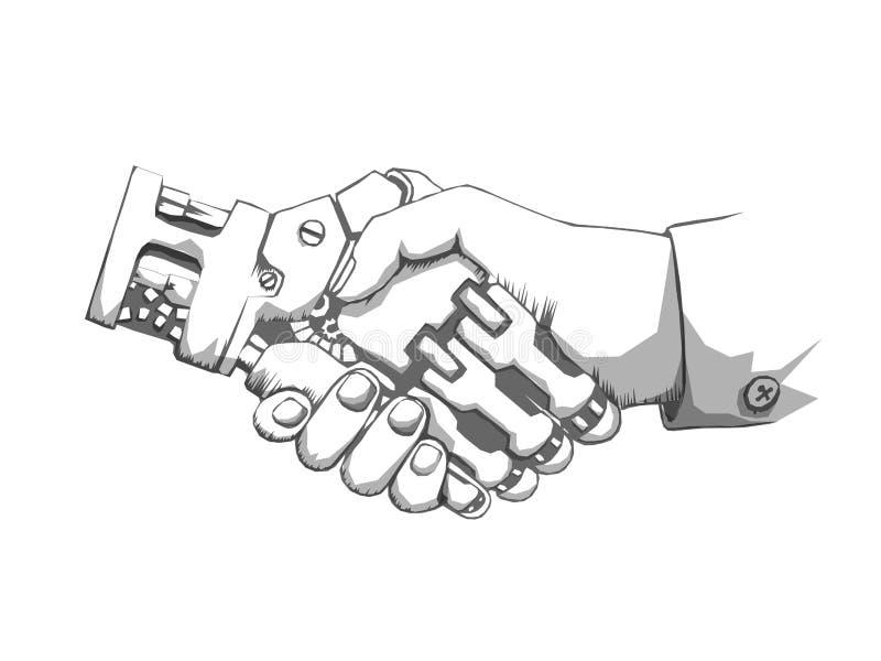 Bedrijfsmens en robothandenschok Concepten toekomstige zaken De toekomstige structuur van de conceptenverbinding Vectorwetenschap vector illustratie