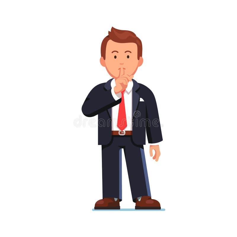 Bedrijfsmens maken stil zijn of shh gebaar die vector illustratie