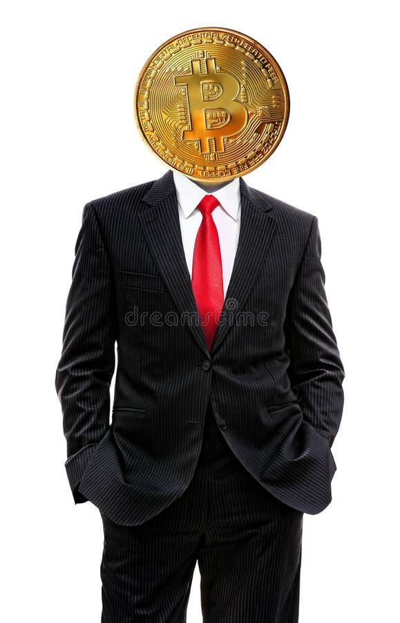 Bedrijfsmens met bitcoin stock foto