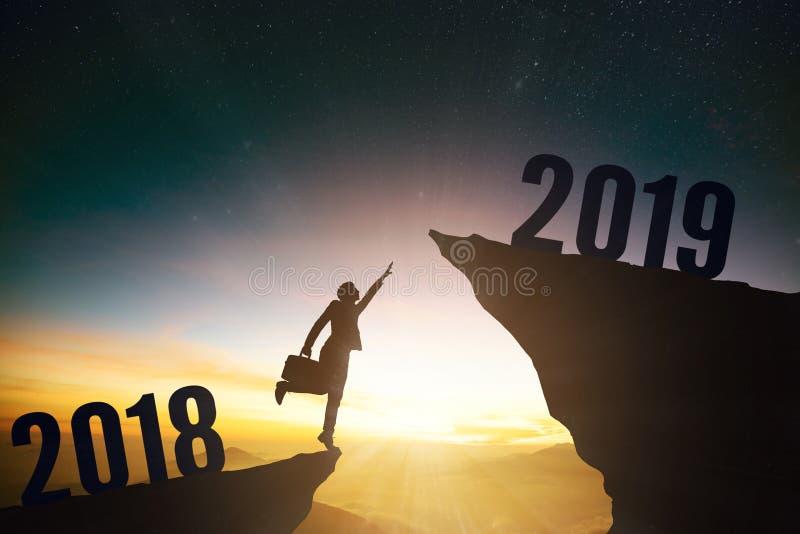 bedrijfsmens met nieuw het jaarconcept van 2019 stock afbeeldingen