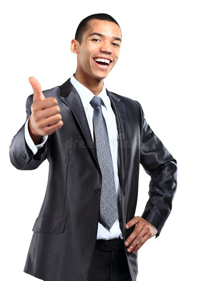 Bedrijfsmens met omhoog duimen royalty-vrije stock afbeelding