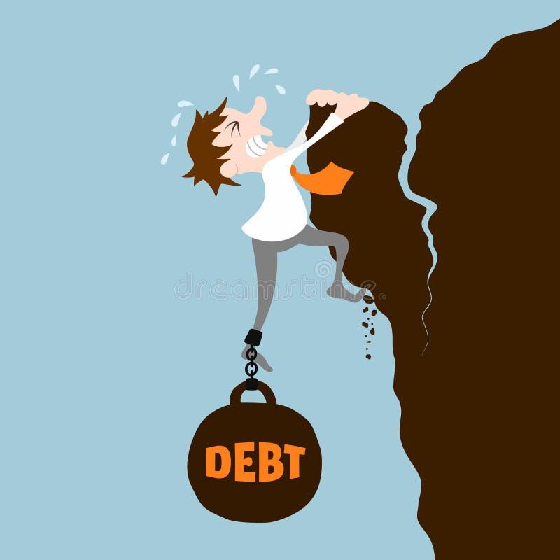 Bedrijfsmens met schuld stock illustratie