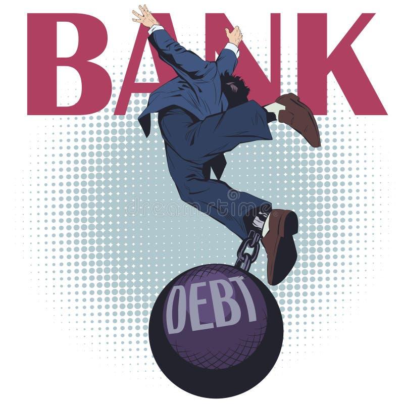 Bedrijfsmens met schuld De illustratie van de voorraad stock illustratie