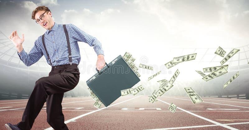 Bedrijfsmens op spoor met geld die van aktentas tegen gloed uitvallen stock foto