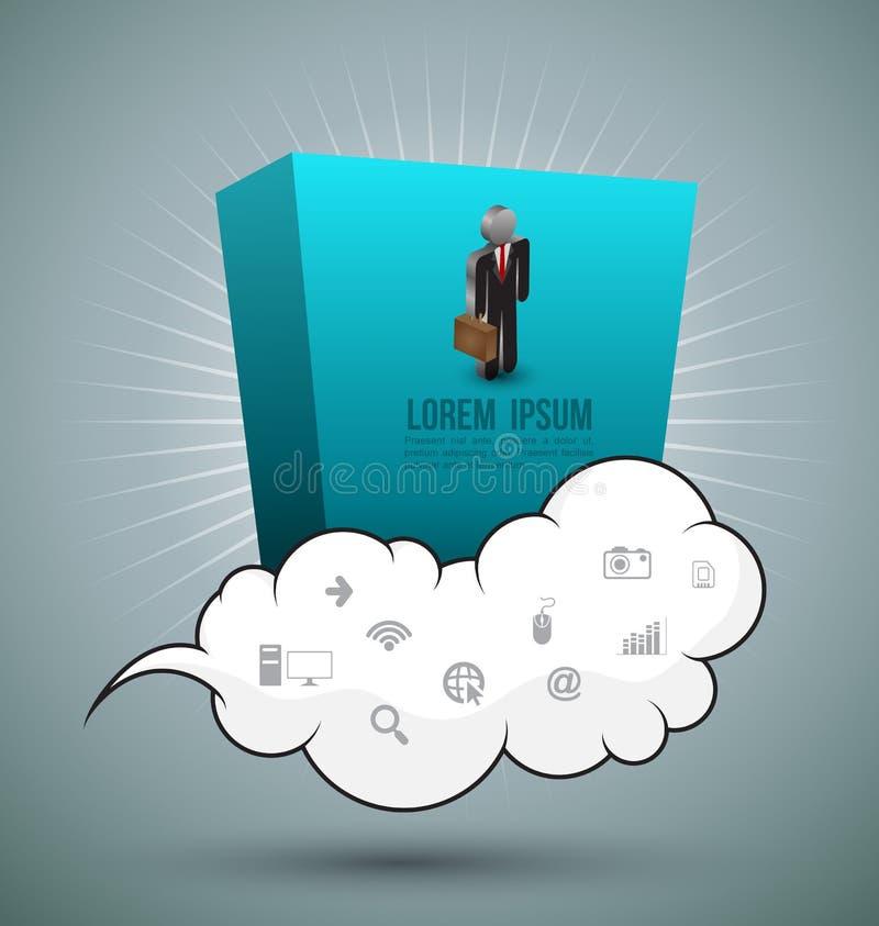 Bedrijfsmens op wolk met pictogrammen vector illustratie