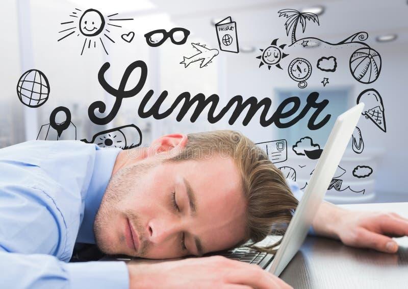 Bedrijfsmens in slaap bij laptop tegen de zomerkrabbel en onscherp wit bureau royalty-vrije stock afbeelding