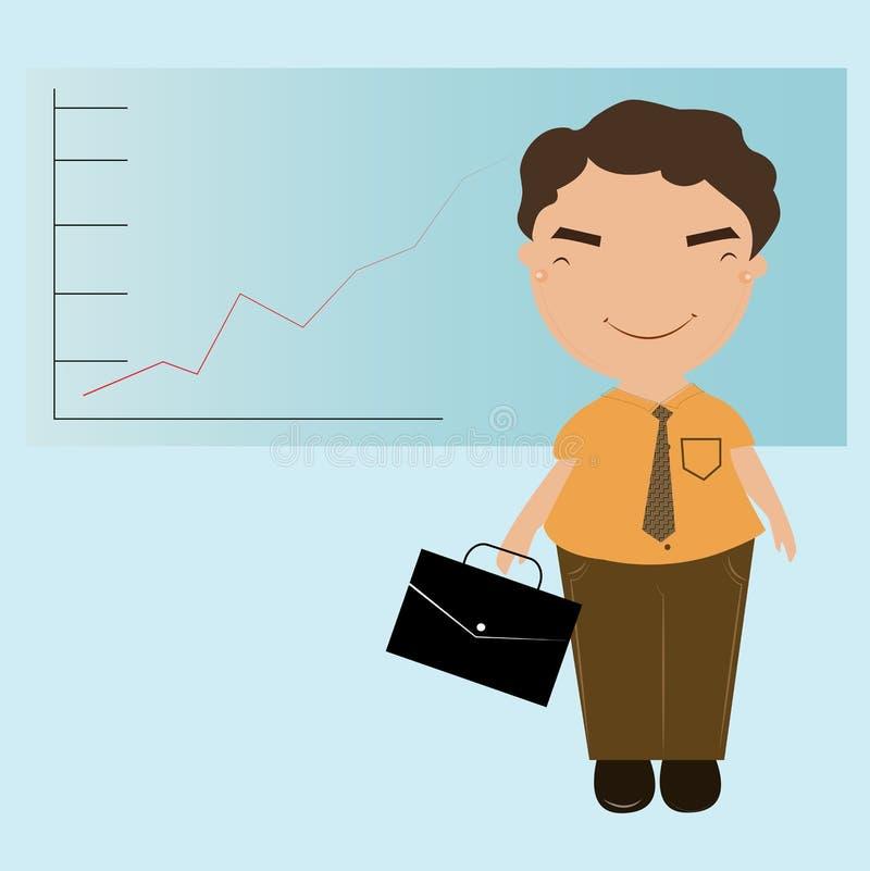 Bedrijfsmens status die op grafiek richten stock fotografie