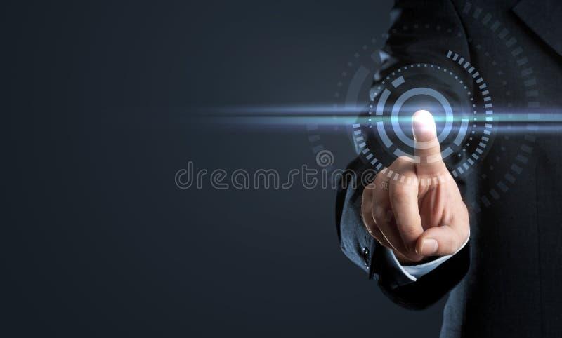Bedrijfsmens wat betreft virtuele interfaceknoop royalty-vrije stock afbeelding