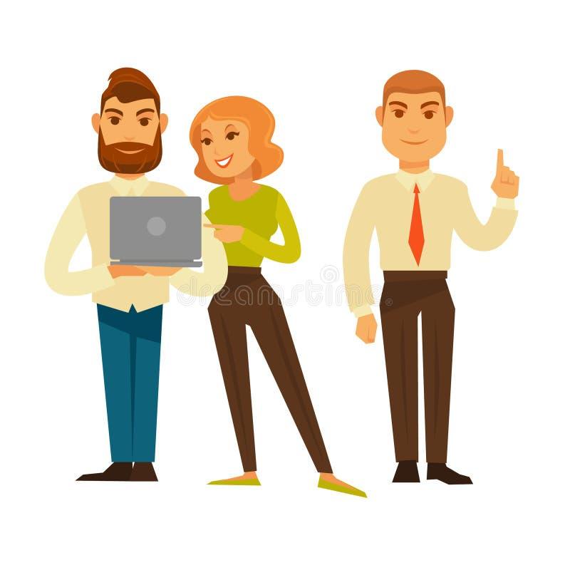 Bedrijfsmensen of de vector geplaatste pictogrammen van van bureaumanagers en arbeiders stock illustratie