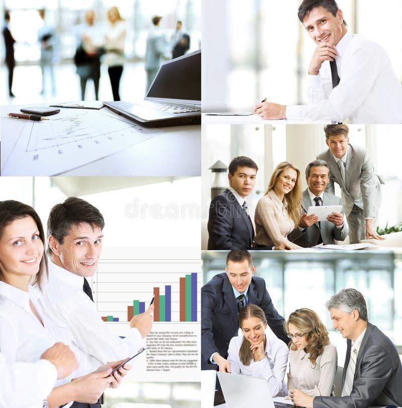 Bedrijfsmensen in de verschillende situaties van opleiding, presentaties, onderhandelingen en het gezamenlijke werk, een collagef stock afbeelding