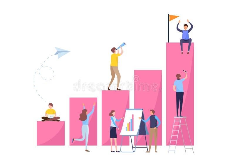 Bedrijfsmensen die als team samenwerken Gegevensanalyse, Investering, Succesconcept De vlakke vector van de beeldverhaalillustrat vector illustratie
