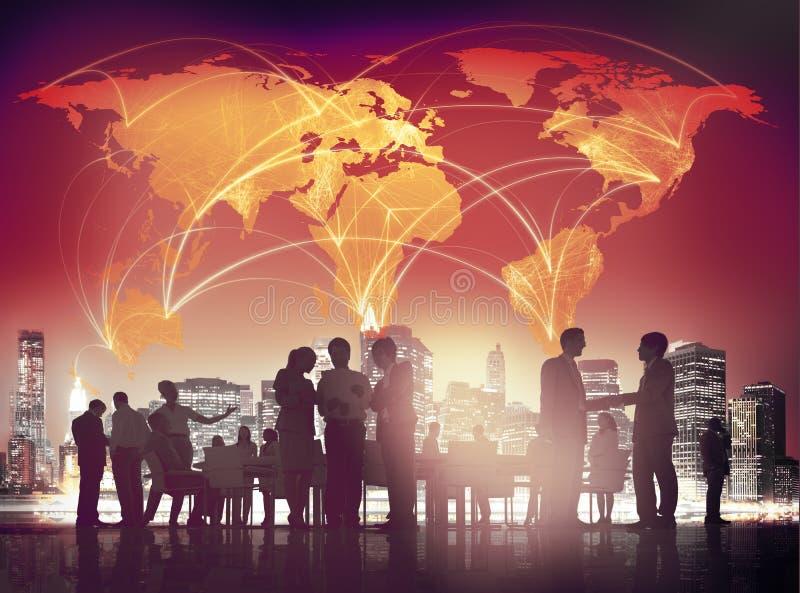 Bedrijfsmensen die Besprekings Globaal Bedrijfsconcept ontmoeten royalty-vrije stock foto's