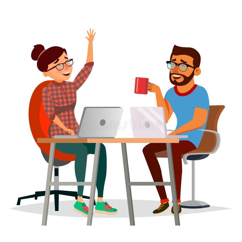 Bedrijfsmensen die bij de Lijstvector zitten Lachende Vrienden, de Man van Bureaucollega's en Vrouw die aan elkaar spreken stock illustratie