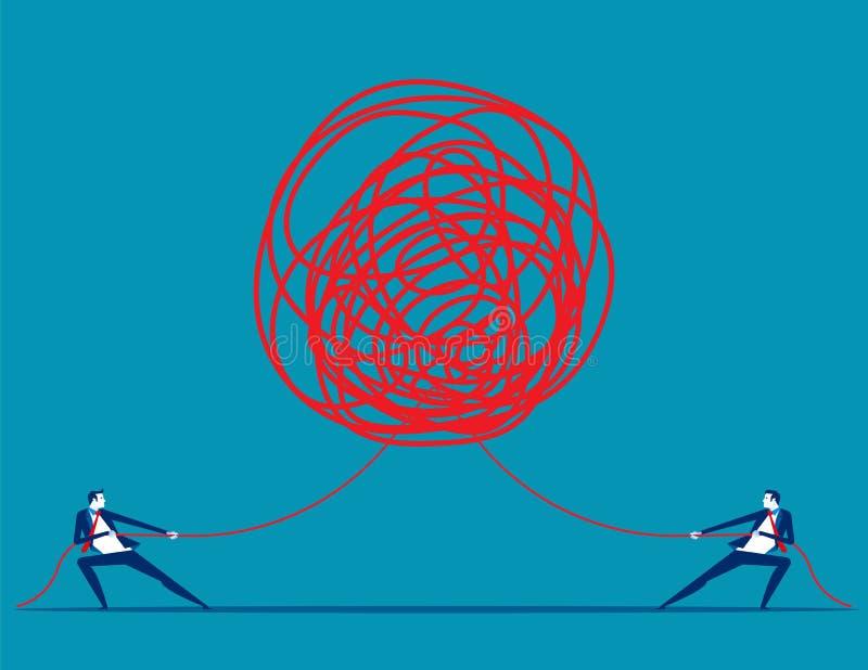 Bedrijfsmensen die bij verwarde kabel in tegenovergestelde richtingen trekken Concepten bedrijfs vectorillustratie royalty-vrije illustratie