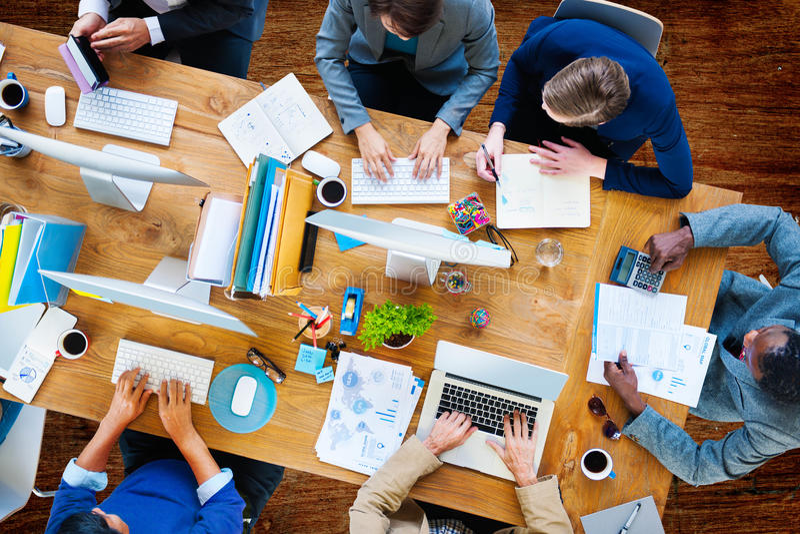 Bedrijfsmensen die Bureau Collectief Team Concept werken royalty-vrije stock afbeeldingen