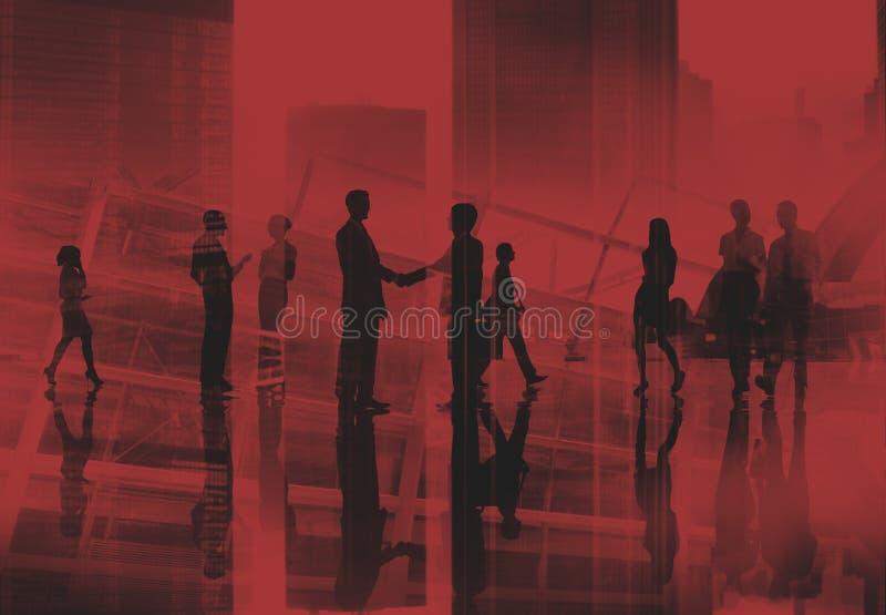 Bedrijfsmensen die de Handdrukconcept lopen van het Forenzenspitsuur royalty-vrije stock afbeeldingen