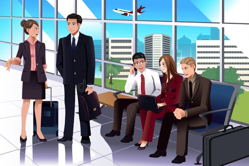 Bedrijfsmensen die in de luchthaven wachten royalty-vrije illustratie