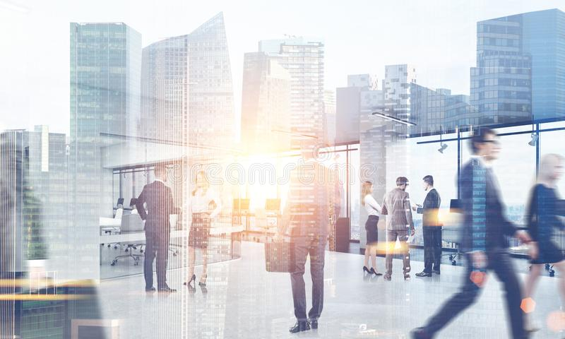 Bedrijfsmensen die in een Stad lopen stock illustratie