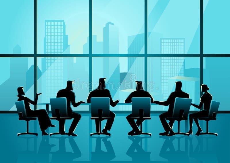 Bedrijfsmensen die een vergadering in uitvoerende conferentieruimte hebben vector illustratie