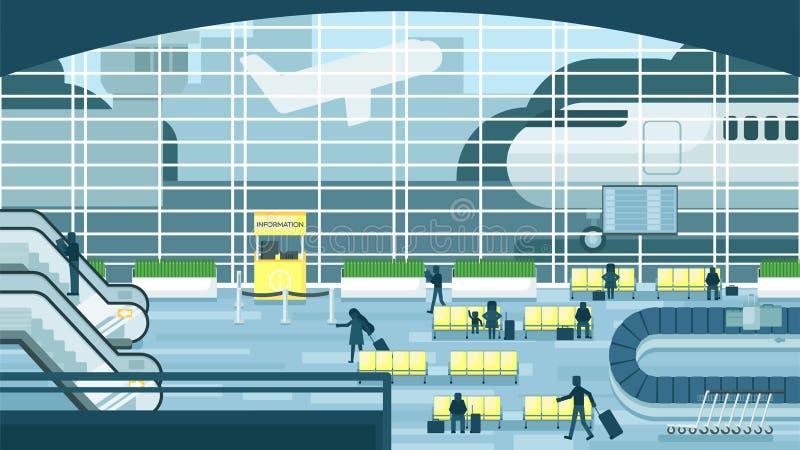 Bedrijfsmensen die en in luchthaventerminal zitten lopen, bedrijfsreisconcept Vlakke ontwerp vectorillustratie stock illustratie