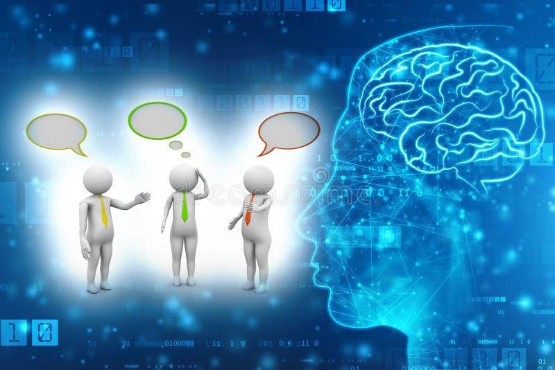 Bedrijfsmensen die en zich met toespraakbellen bevinden spreken op technologieachtergrond 3d geef terug stock illustratie