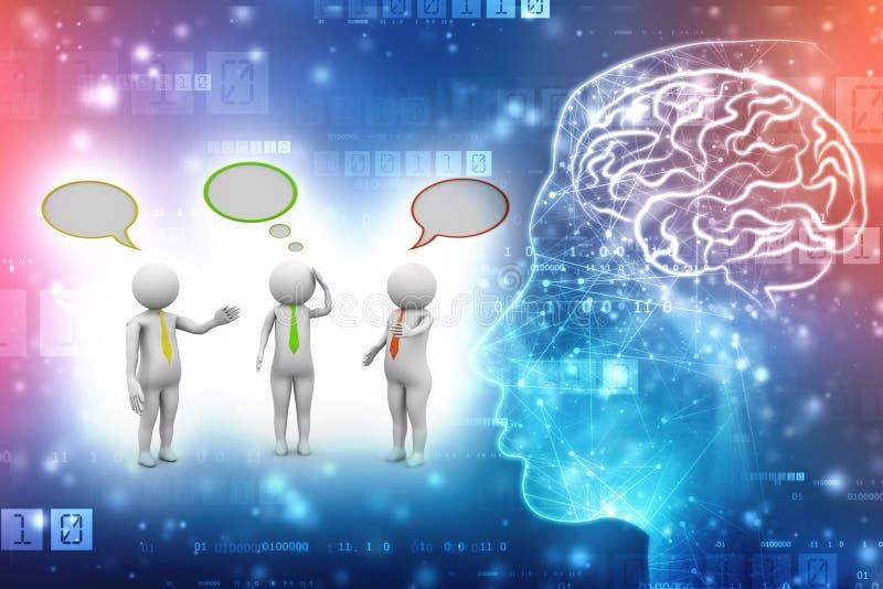 Bedrijfsmensen die en zich met toespraakbellen bevinden spreken op technologieachtergrond 3d geef terug royalty-vrije illustratie