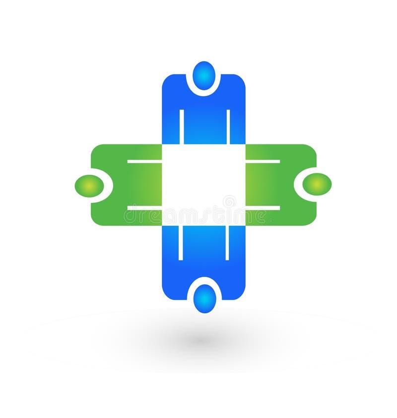 Bedrijfsmensen die groep, pictogramvector ontmoeten vector illustratie