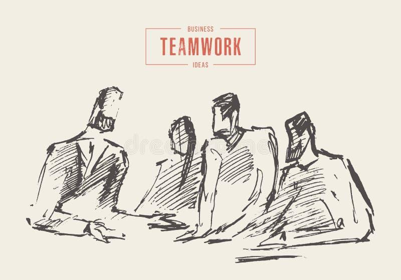 Bedrijfsmensen die groepswerkconcept ontmoeten een vector vector illustratie