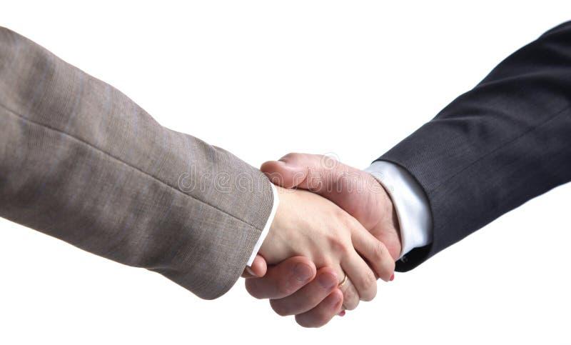 Bedrijfsmensen die handen schudden, die omhoog een vergadering be?indigen stock afbeeldingen