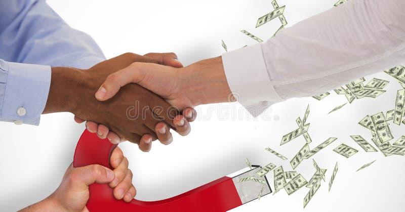 Bedrijfsmensen die handen schudden terwijl magneet die geld op achtergrond trekken stock afbeelding