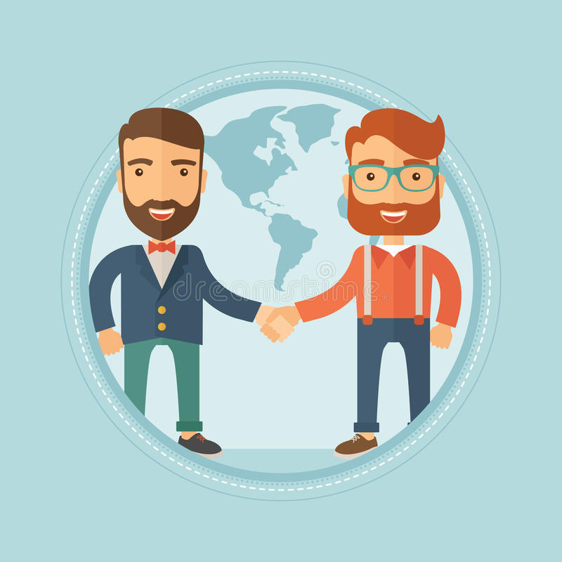 Bedrijfsmensen die handen vectorillustratie schudden royalty-vrije illustratie