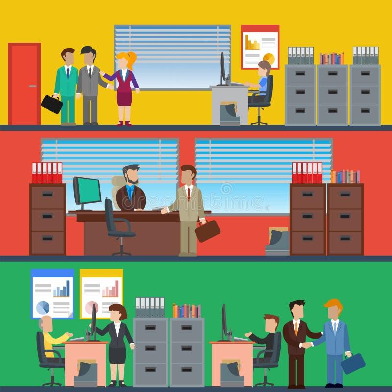 Bedrijfsmensen die in het bureau en het collectieve gebouw, conferentieruimte, ontvangst werken vector illustratie