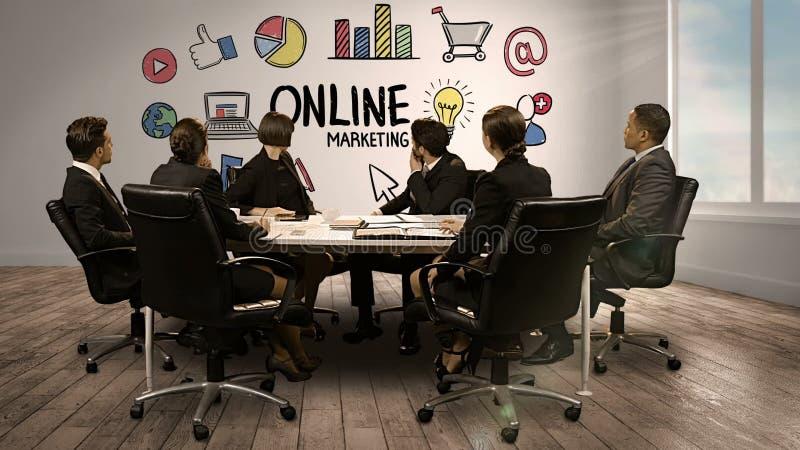 Bedrijfsmensen die het digitale scherm bekijken die online marketing tonen stock videobeelden