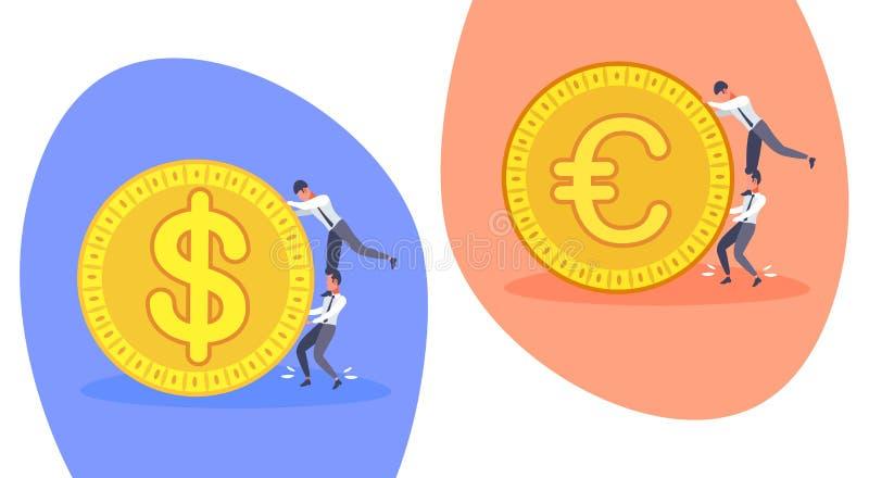 Bedrijfsmensen die het gouden van de het geldrijkdom van het dollar euro muntstuk van het de groeiconcept beeldverhaal van de het royalty-vrije illustratie