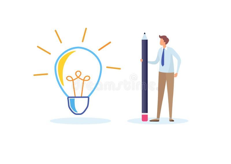 Bedrijfsmensen die het grote idee trekken De creativiteit, veronderstelt, innovatie De vlakke grafische vector van de beeldverhaa royalty-vrije illustratie