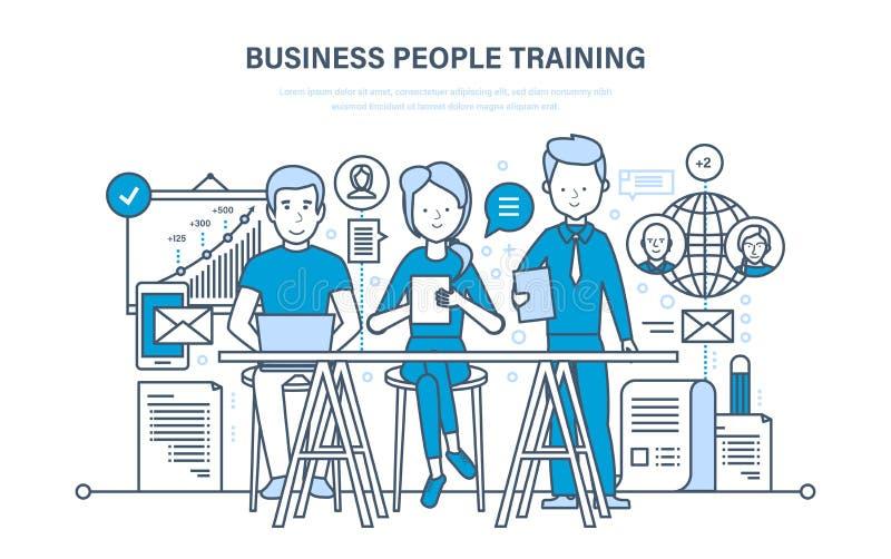 Bedrijfsmensen die, het raadplegen, het leren, het onderwijzen, onderwijs, de carrièregroei, groepswerk opleiden royalty-vrije illustratie