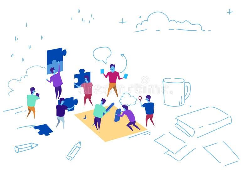 Bedrijfsmensen die het team van raadselstukken het werk van de het probleemoplossing van het figuurzaagconcept krabbel van de het vector illustratie