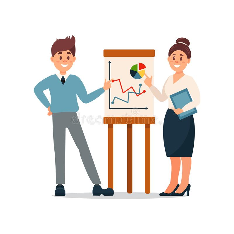 Bedrijfsmensen die informatiegrafiek op tikgrafiek verklaren, bedrijfskarakters die in de vector van het bureaubeeldverhaal werke vector illustratie