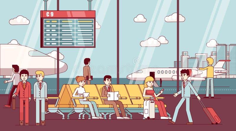 Bedrijfsmensen die in luchthavenwachtkamer zitten royalty-vrije illustratie
