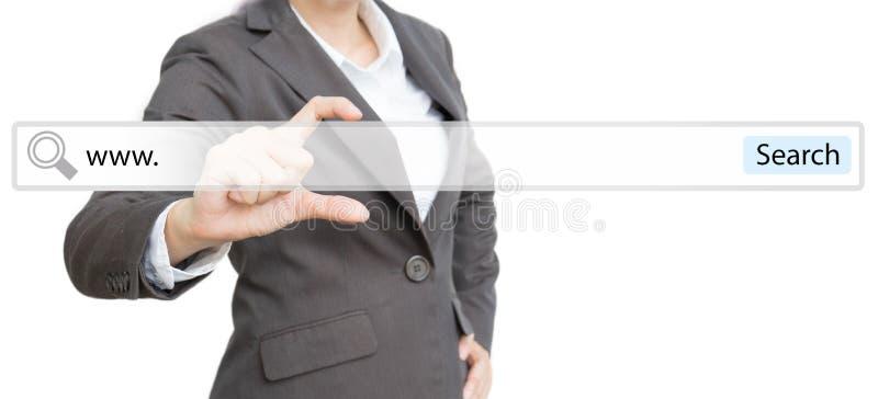 Bedrijfsmensen die lusje voor onderzoekswebsite tonen royalty-vrije stock afbeelding
