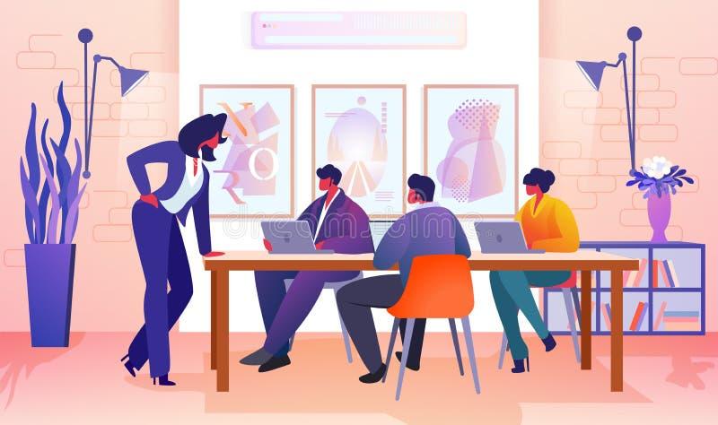 Bedrijfsmensen die in Modern Bureau communiceren royalty-vrije illustratie