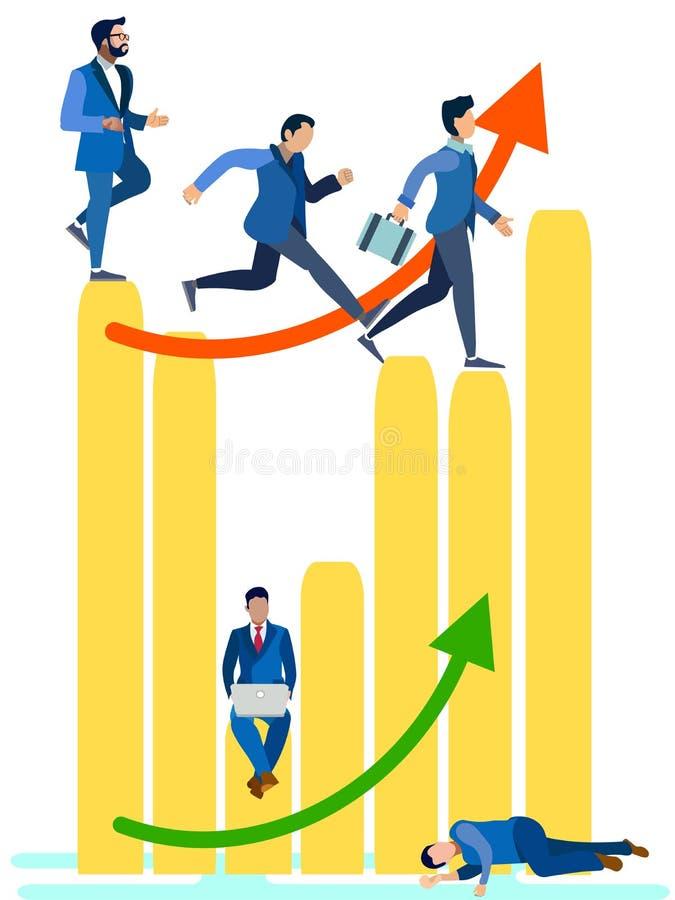 Bedrijfsmensen die op het staafdiagram lopen Kan voor Webbanner, infographics, heldenbeelden gebruiken In minimalistische stijl v vector illustratie