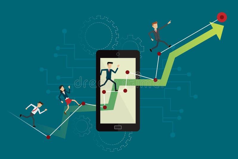 Bedrijfsmensen die op omhooggaande grafiekweg aan doel op mobiel lopen Vecto vector illustratie