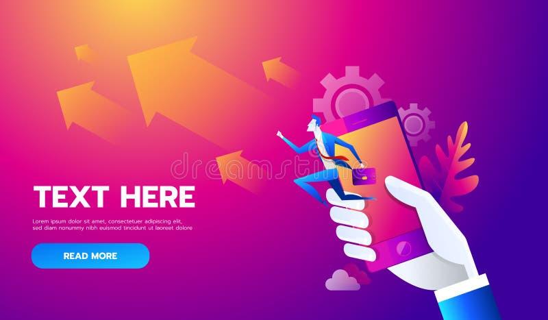 Bedrijfsmensen die op omhooggaande grafiekweg aan doel op mobiel lopen Vector illustratie royalty-vrije illustratie