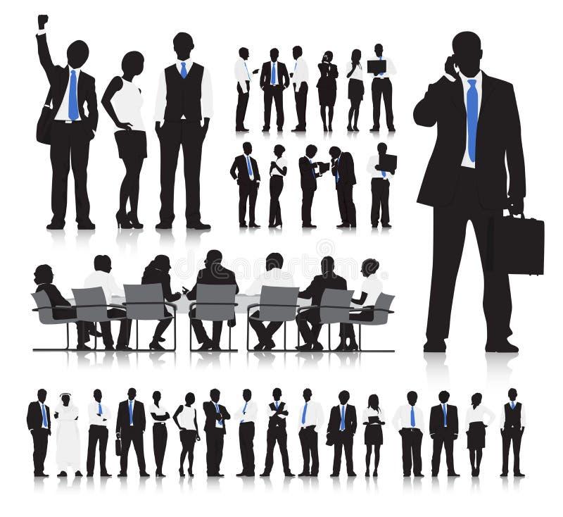 Bedrijfsmensen die Vector ontmoeten royalty-vrije illustratie